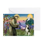 St Francis & Husky Greeting Card