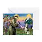 St Francis & Husky Greeting Cards (Pk of 10)