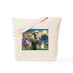 St Francis /Welsh Corgi (p) Tote Bag