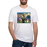 St Francis /Welsh Corgi (p) Fitted T-Shirt
