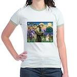 St Francis /Welsh Corgi (p) Jr. Ringer T-Shirt