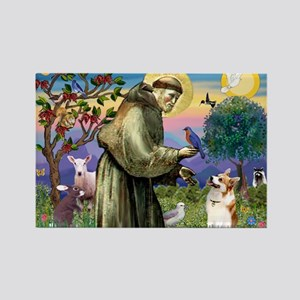 St Francis /Welsh Corgi (p) Rectangle Magnet