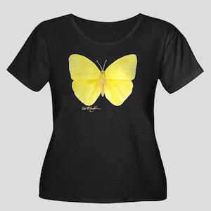 yellow butterfly Women's Plus Size Scoop Neck Dark
