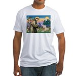 St Francis & Wheaten Terrier Fitted T-Shirt