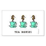 Tea Horses Rectangle Sticker