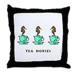 Tea Horses Throw Pillow