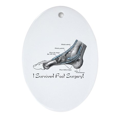 I Survived Foot Surgery! Oval Ornament