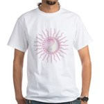 Pink Starburst Yin Yang White T-Shirt