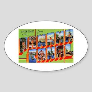 Panama Canal Greetings Oval Sticker