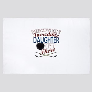 Ice Hockey Daughter, Dad & Mom Gif 4' x 6' Rug