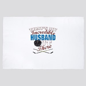Hockey Player Husband, Gift for Wife 4' x 6' Rug