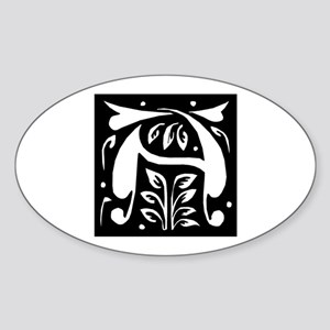 Art Nouveau Initial A Oval Sticker