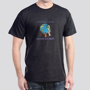 """Every Hand Counts...Support Our Earth"" Dark T-Shi"