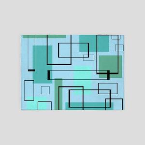 Mid Century Modern Rectangles 5'x7'Area Rug