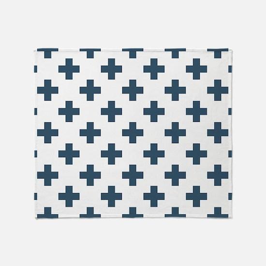 Dusky Blue Plus Signs Pattern (Rever Throw Blanket