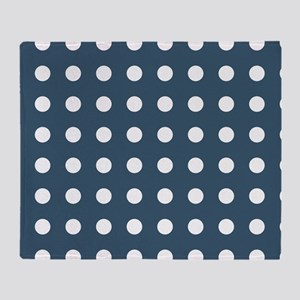 Dusky Blue Medium Polka Dots Throw Blanket