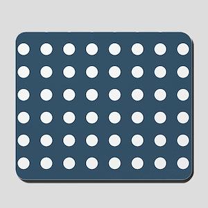 Dusky Blue Medium Polka Dots Mousepad