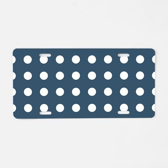 Dusky Blue Medium Polka Dot Aluminum License Plate