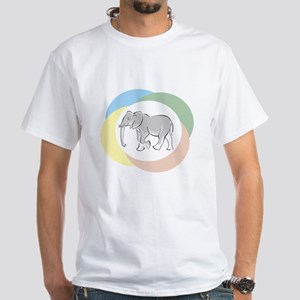White T-Shirt - Elephant With Colors