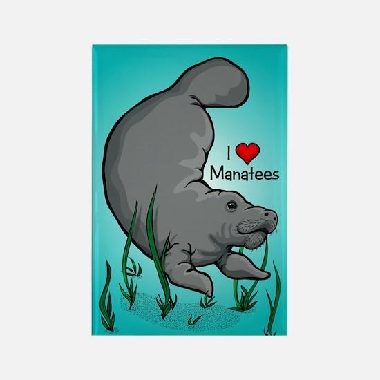 I Love Manatees Rectangle Magnet