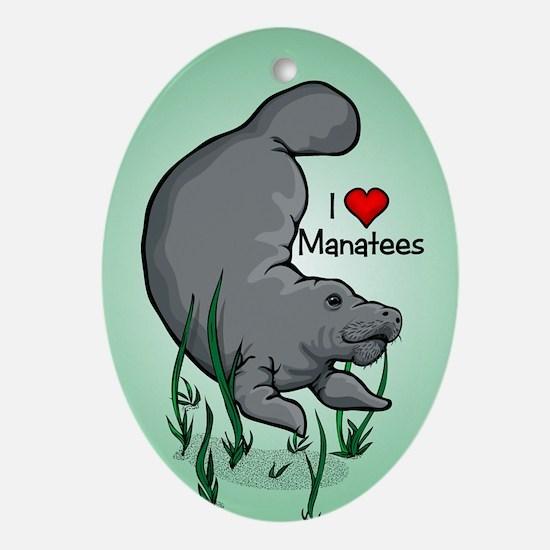I Love Manatees Oval Ornament