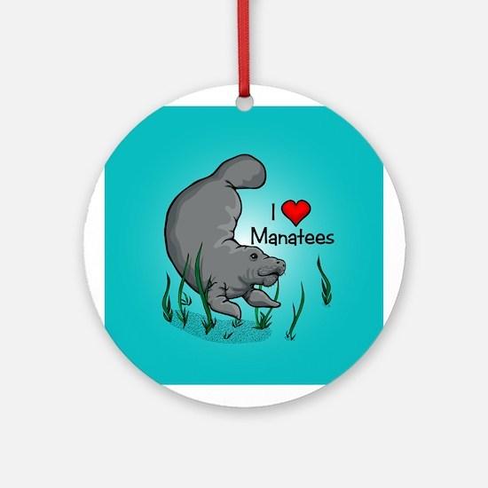 I Love Manatees Ornament (Round)
