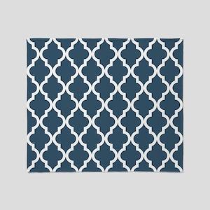 Dusky Blue Moroccan Pattern Throw Blanket