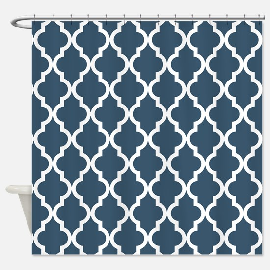 Dusky Blue Moroccan Pattern Shower Curtain