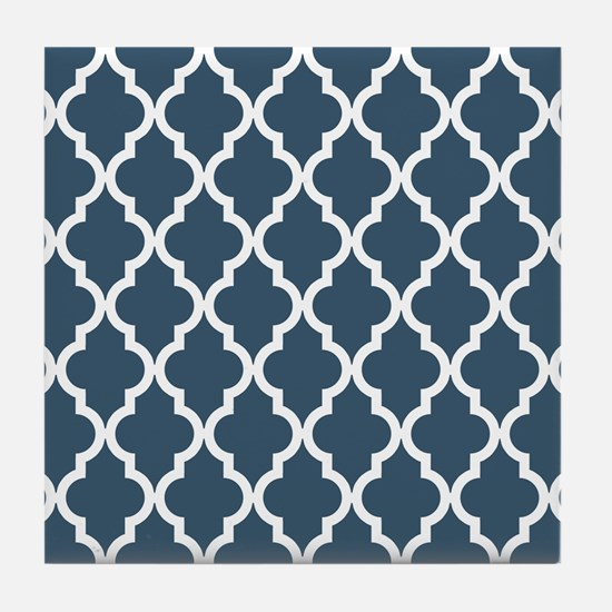 Dusky Blue Moroccan Pattern Tile Coaster