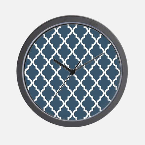 Dusky Blue Moroccan Pattern Wall Clock