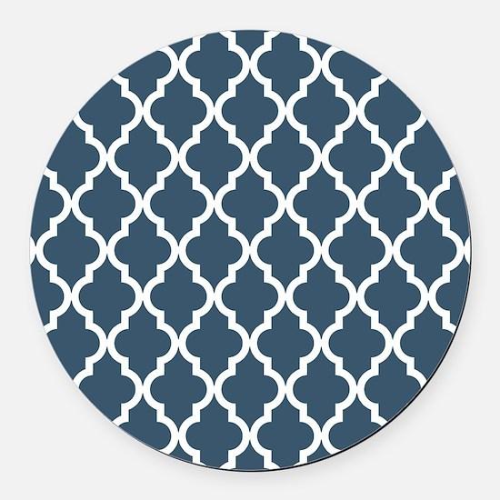 Dusky Blue Moroccan Pattern Round Car Magnet