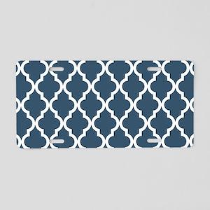 Dusky Blue Moroccan Pattern Aluminum License Plate