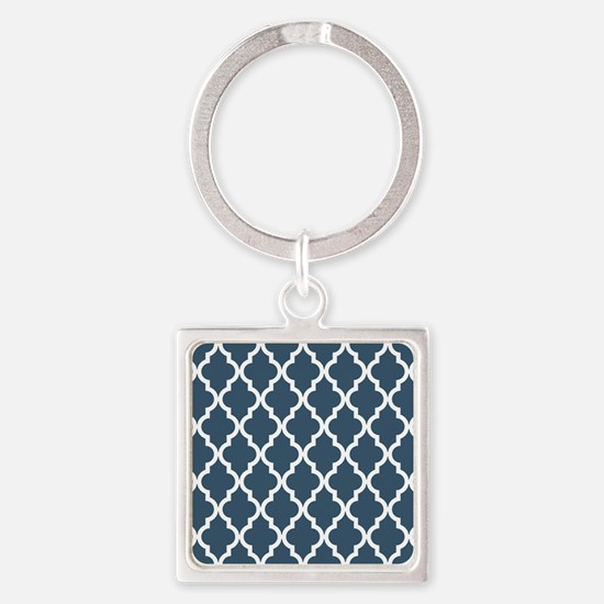Dusky Blue Moroccan Pattern Square Keychain