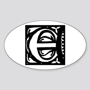 Art Nouveau Initial E Oval Sticker