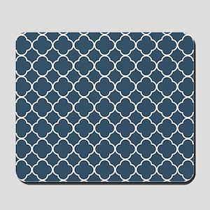 Dusky Blue Clover Quatrefoil Pattern Mousepad
