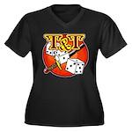T&T Logo! Women's Plus Size V-Neck Dark T-Shirt