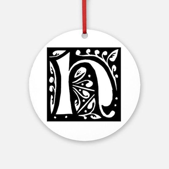 Art Nouveau Initial H Keepsake (Round)