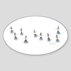 Hula Girls Oval Sticker