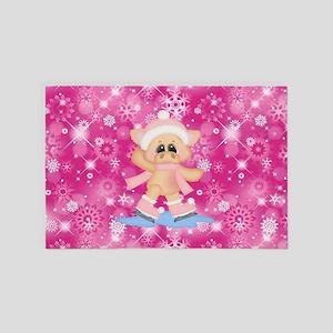 Girl Pig Ice Skating Pastel Bokeh Pink 4' x 6' Rug