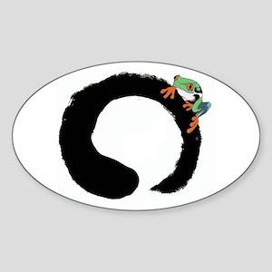Zen Frog Oval Sticker