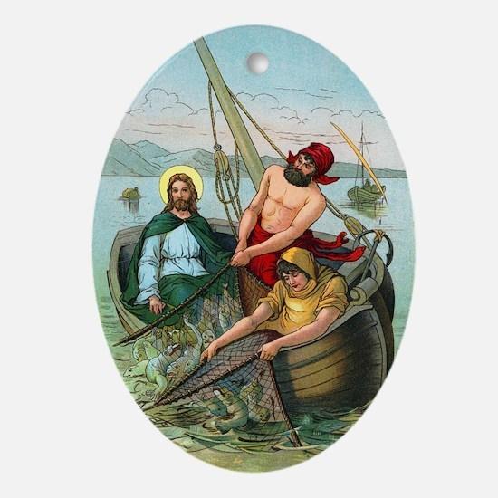 Jesus Fishing Oval Ornament