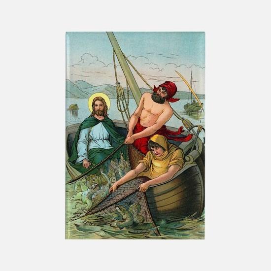 Jesus Fishing Rectangle Magnet
