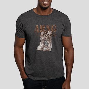 ARNG Mom Combat Boots N Dog Tags Dark T-Shirt