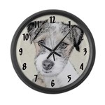 Russell Terrier (Rough) Large Wall Clock