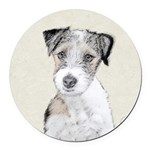 Russell Terrier (Rough) Round Car Magnet