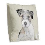 Russell Terrier (Rough) Burlap Throw Pillow