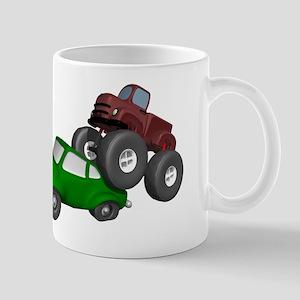 Monster Truck Smashing Car Mug