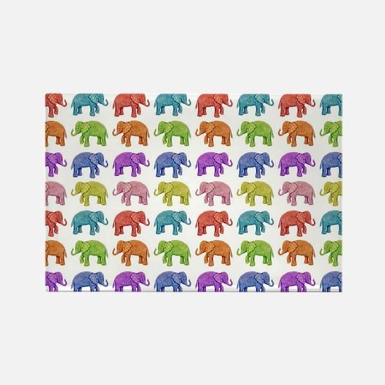 Unique Elephant rainbow Rectangle Magnet