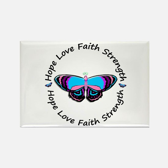Butterfly Hope 3 (Thyroid Cancer) Rectangle Magnet