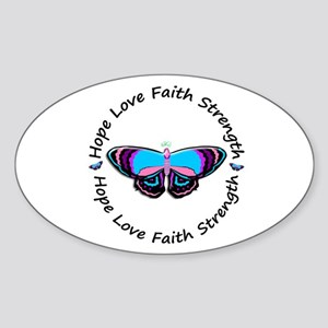 Butterfly Hope 3 (Thyroid Cancer) Oval Sticker